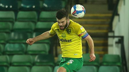 Grant Hanley of Norwich heads clear during the Sky Bet Championship match at Carrow Road, Norwich P