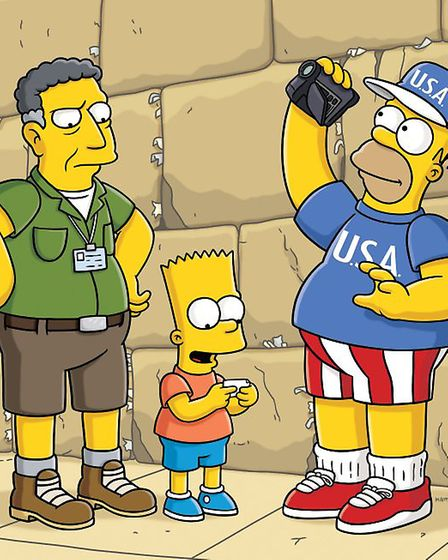 The Simpsons on one of their many visits to Europe. Photograph: Fox.