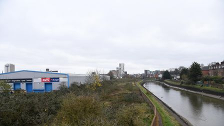 The River Orwell and the development side beside it