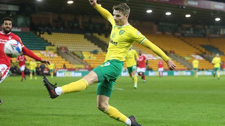Jacob Sorensen of Norwich in action during the Sky Bet Championship match at Carrow Road, Norwich