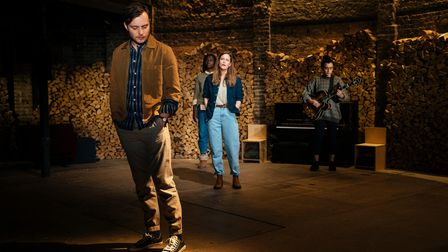 The cast of Nine Lessons and Carols on stage at the Almeida Theatre