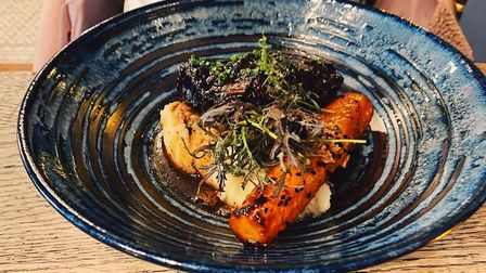 Braised Norfolk beef cheek, mash, chianti sauce, marmalade carrot and beef crumb Picture: James Randle