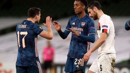 Arsenal's Joe Willock celebrates scoring his side's third goal of the game during the UEFA Europa Le