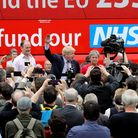 Boris Johnson, Gisela Stuart and Douglas Carswell address the people of Stafford in Market Square during the Vote Leave...