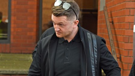 Tommy Robinson leaving court. Photograph: Kirsty O'Connor/PA.