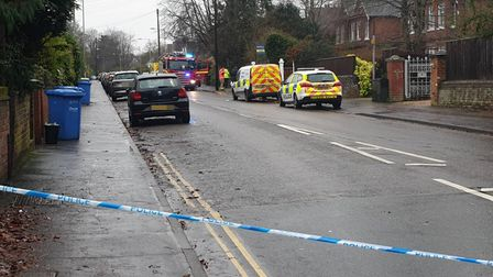 A police cordon in place at a house fire in Norwich