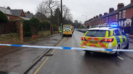 A police cordon in place on Unthank Road at the junction with Colman Road.