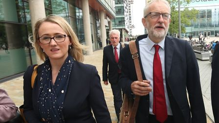 Jeremy Corbyn walks with shadow business secretary Rebecca Long-Bailey during a visit to Salford. Pi