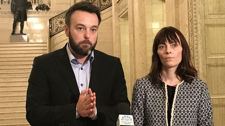 SDLP leader Colum Eastwood (left) and deputy leader Nichola Mallon speak to the media in the Great H