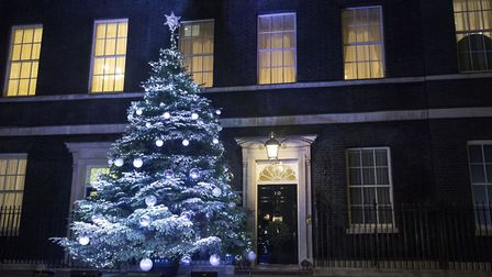 General view of the Downing Street Christmas tree lights in London. Photograph: Lauren Hurley/PA.