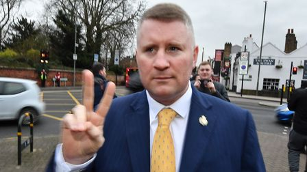 The leader of far-right group Britain First, Paul Golding, arriving at Bromley Magistrates' Court. P