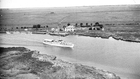 Boat sails past the Berney Arms in 1960