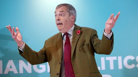Brexit Party leader Nigel Farage addresses supporters at the Washington Central Hotel in Workington.