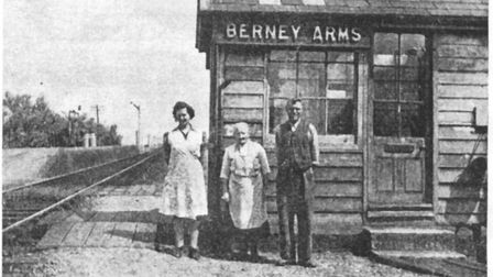 Members of the Hewitt family outside the old signal box at the Berney Arms.