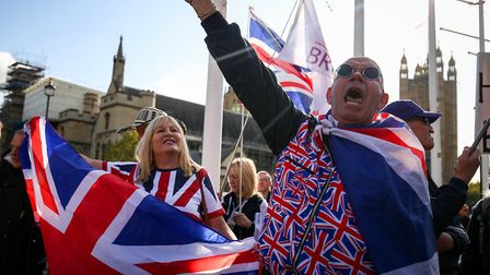 Pro Brexit supporters outside parliament. Photograph: Jacob King/PA.