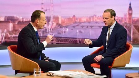 Andrew Marr (left) speaking with Foreign Secretary Dominic Raab. Photograph: Jeff Overs/BBC/PA.