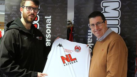 Jason Schofield and Terry Schofield with the special Clyde FC kit. Picture: Matt Smart