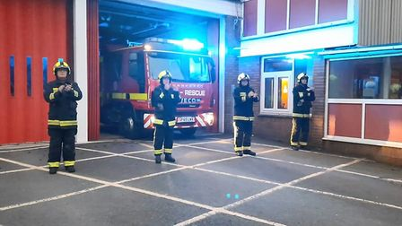 Firefighters from Bideford take part in Clap for our Carers at Barnstaple Fire Station.