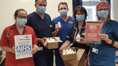 Torbay Hospital staff taking delivery of the special cream