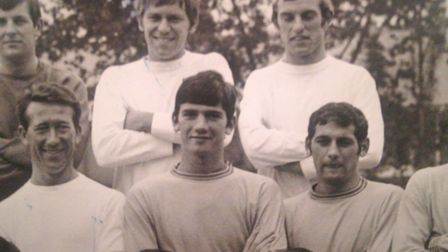 John Rowlands pictured, centre, at Plainmoor in 1968