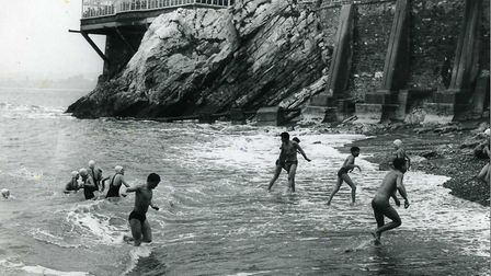 Boxing Day dip in the sea at Beacon Cove in 1961