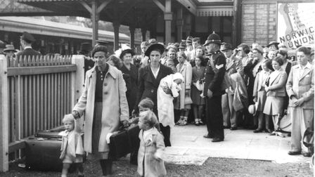Evacuees at Torquay station