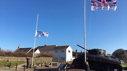 Flags flying to thank the NHS at Torcross