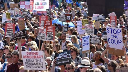 Protesters gather outside Downing Street in 2019 forthe Stop The Coup protests