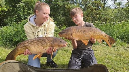 Charley and Sarah Fowler with their carp