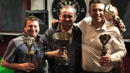 Snooker Premier Division Champions for the past two seasons, Dawlish RBL B (from left) Andy Hill, Ri