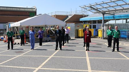 St John Ambulance volunteers with trust chief executive Liz Davenport and emergency department colle