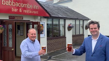 Cheers. Torbay MP Kevin Foster meets Babbacombe Inn owner Martyn Strange on his Independence Day tou