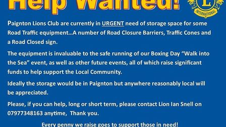 Paignton Lions' appeal for help