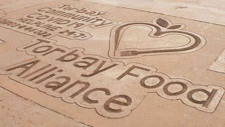 The Sandman's tribute to the Torbay Food Alliance at Torre Abbey Sands