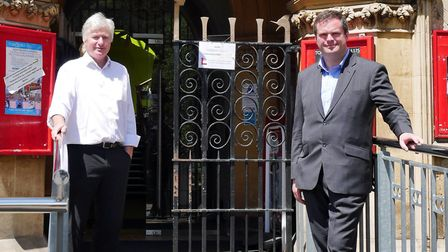 Torquay Museum director Basil Greenwood celebrates with MP Kevin Foster