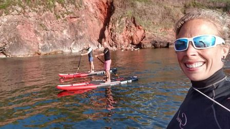 Rach, Rich and Ash - company co-founders and directors - take new paddleboards out for a spin