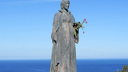 The bronze sculpture of Georgina Baroness Mount-Temple, on Babbacombe Downs