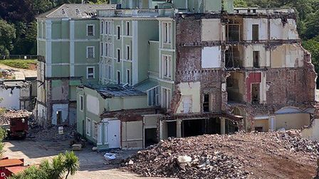 Demolished - what is left of the Palace Hotel in Torquay