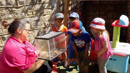 The Mama Bear's Nursery children are glad to be back - and learning about frogs
