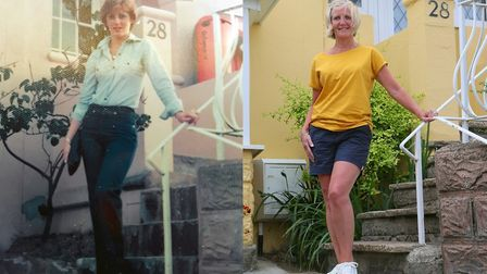 Glenys Colborn - at the same spot she was photographed 43 years ago