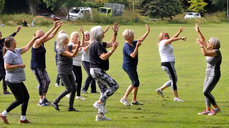 Mary Qiriaqi, right, holds a dance and exercise class Moves to Music on Ilsham Valley during lockdow