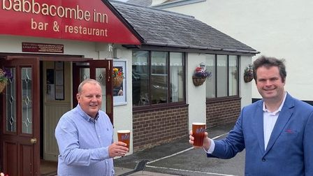 Torbay MP Kevin Foster meets Babbacombe Inn owner Martyn Strange on his 'Steady Saturday' tour of th