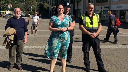 Devon and Cornwall Police and Crime Commissioner Alison Hernandez in Truro to meet street marshalls