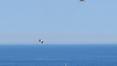 An RAF helicopter flypast salute for Mike Lakey