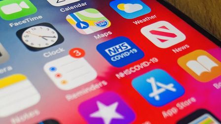 The NHS Covid-19 app on a smart phone. The app is set to be released across England and Wales on Thursday to support the...