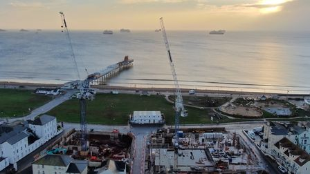 Cause for confidence ..the Paignton prom hotels take shape as the Bay and its armada of cruise ships stand out in all...