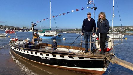 Karen and William Hook on their Teignmouth-Shaldon ferry