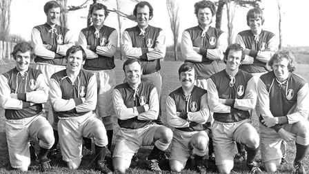 The Torbay Gentlemen 1975/76. Back (from left): Gerry Way, Dave Phillips, Roger Mann, Malcolm Bidder, Harry Smith. Front...