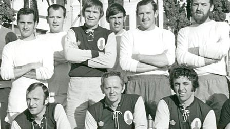 Gordon, centre in front, with Harry Smith stood behind v Gibraltar Over-30s