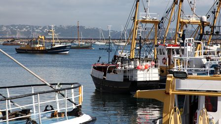 Some of the fishing trawlers of the Brixham fleet in harbour